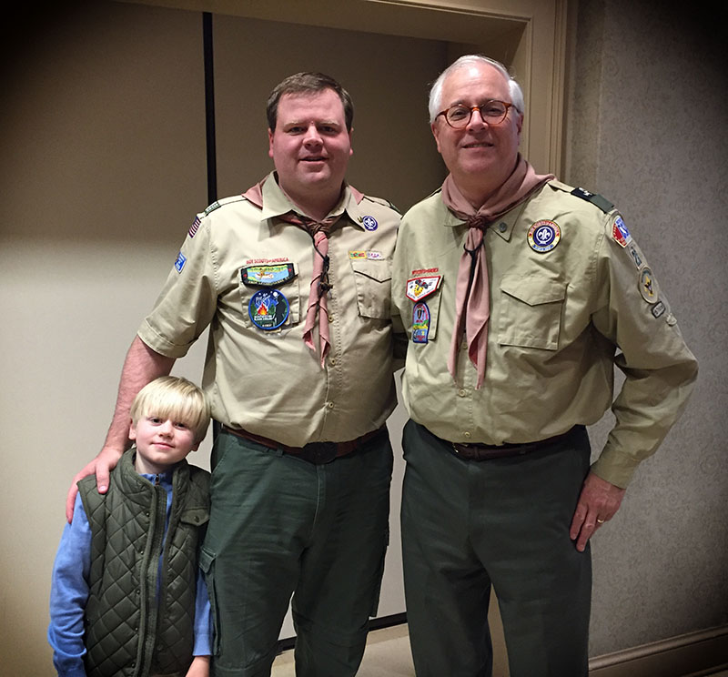 2016 Vulcan District Award of Merit from right to left: Alan Sydnor, Justin Kelly and next years Tiger Scout.