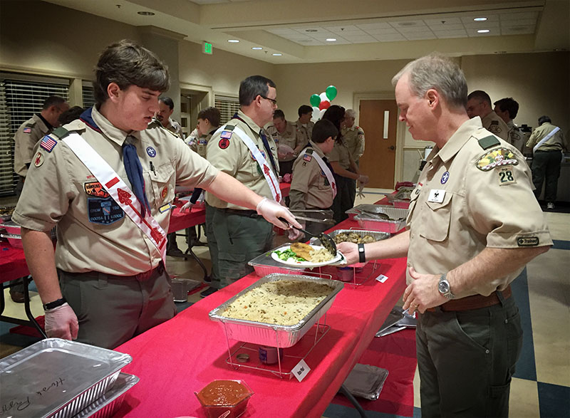 Order of the Arrow, Coosa Lodge, Nunne-Hi Chapter members serving dinner.